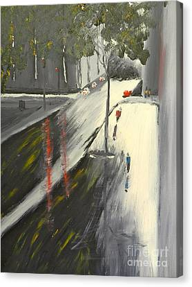 Canvas Print featuring the painting Rainy Street In Melbourne by Pamela  Meredith