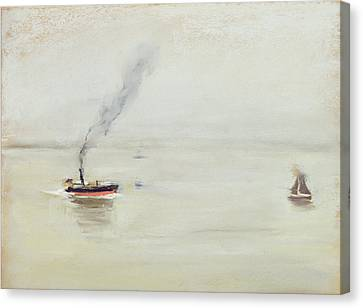 Rainy Weather On The Elbe Canvas Print by Max Liebermann