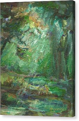Canvas Print featuring the painting Rainy Woods by Mary Wolf
