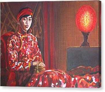 Raise The Red Lantern Canvas Print by Karen Coggeshall