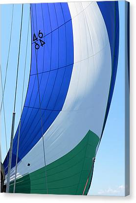 Raising The Blue And Green Sail Canvas Print