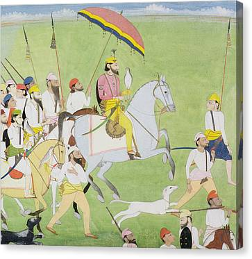 Rajah Dhian Singh Hunting Canvas Print by Indian School