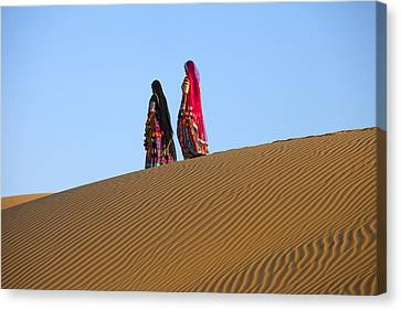 Rajasthani Women In Thar Desert Canvas Print by Indiana Zuckerman