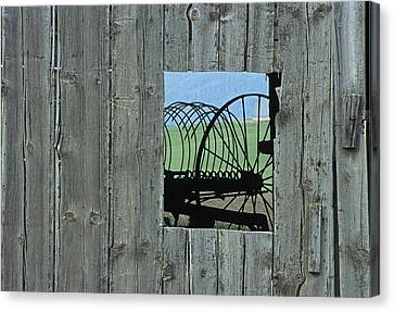 Rake And Barn Canvas Print by Latah Trail Foundation