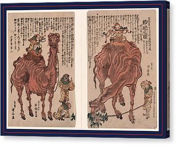 Camel Canvas Print - Rakuda No Zu, A Pair Of Camels. 1824., 1 Print 2 Sheets by Kuniyasu, Utagawa (1794-1832), Japanese