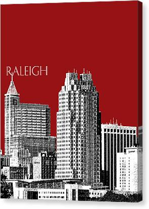 Raleigh Skyline - Dark Red Canvas Print