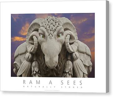 Canvas Print featuring the digital art Ram A Sees Naturally Stoned Poster by David Davies