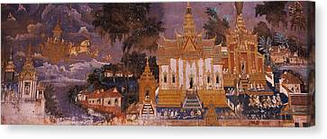 Mural Canvas Print - Ramayana Murals In A Palace, Royal by Panoramic Images