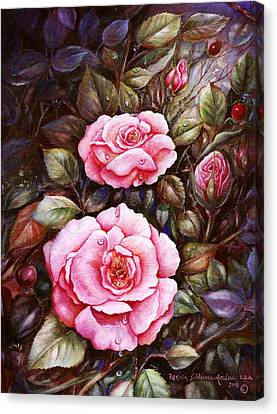 Canvas Print featuring the painting Rambling Rose by Patricia Schneider Mitchell