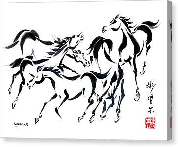Canvas Print featuring the painting Rambunctious by Bill Searle
