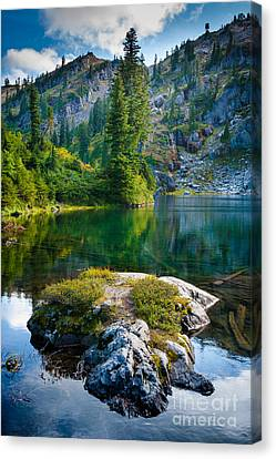 Ramparts Lake Canvas Print by Inge Johnsson