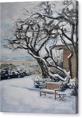 Ranch Bench In Winter Canvas Print by Lori Pittenger