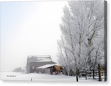 Ranch In Frozen Fog Canvas Print