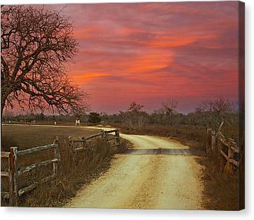 Ranch Under A Blazing Sky Canvas Print by James Granberry