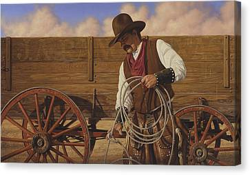 Canvas Print featuring the painting Ranch Wagon by Ron Crabb