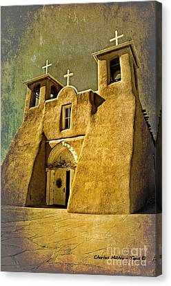 Francis Canvas Print - Ranchos Church In Old Gold by Charles Muhle