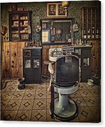 Burger Canvas Print - Randsburg Barber Shop Interior by Priscilla Burgers