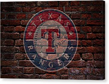 Rangers Baseball Graffiti On Brick  Canvas Print