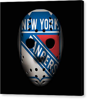 Goalie Canvas Print - Rangers Goalie Mask by Joe Hamilton