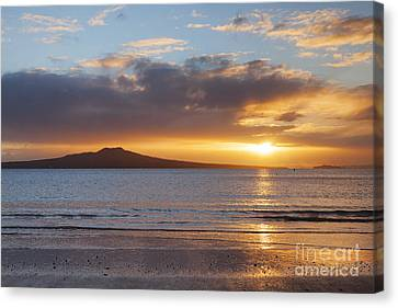 Auckland Canvas Print - Rangitoto Sunrise Auckland New Zealand by Colin and Linda McKie