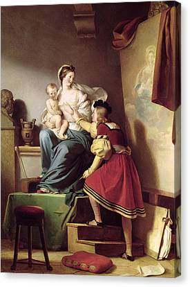 Raphael Adjusting His Model's Pose For His Painting Of The Virgin And Child  Canvas Print by Alexandre Evariste Fragonard