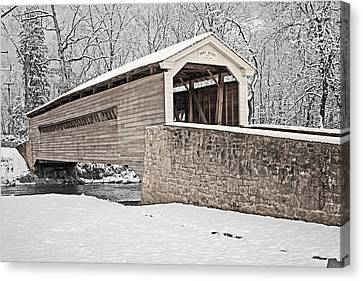 Rapps Bridge In Winter Canvas Print by Michael Porchik
