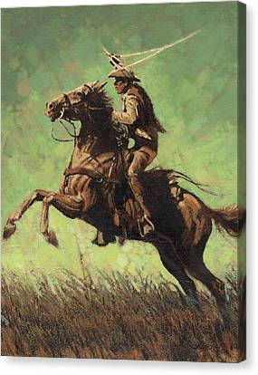 Roping Raring Horse Canvas Print by Don  Langeneckert