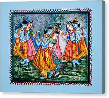Canvas Print featuring the painting Ras Leela by Harsh Malik