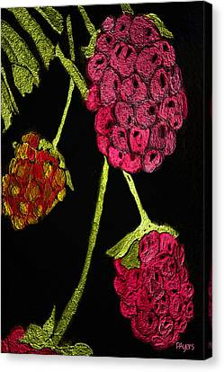 Canvas Print featuring the painting Raspberry Fabric by Paula Ayers