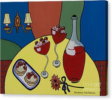 Canvas Print featuring the painting Raspberry Wine by Barbara McMahon