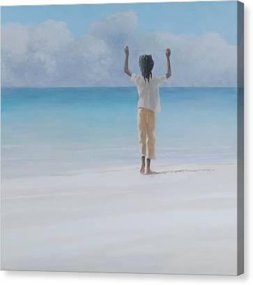 Rasta On Beach, 2012 Acrylic On Canvas Canvas Print by Lincoln Seligman