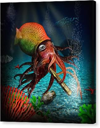 Rasta Squid Canvas Print by Alessandro Della Pietra
