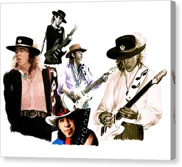 Rave On  Stevie Ray Vaughan Canvas Print by Iconic Images Art Gallery David Pucciarelli