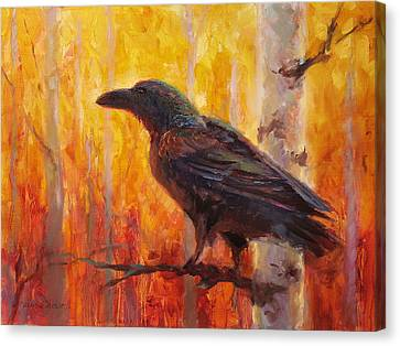 Raven Glow Autumn Forest Of Golden Leaves Canvas Print by Karen Whitworth