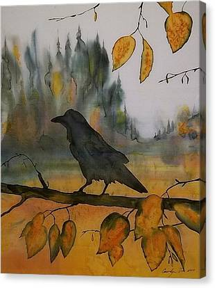 Raven In Orange Birch Canvas Print by Carolyn Doe