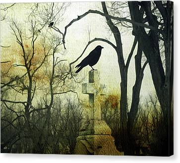 Raven On Cross Canvas Print by Gothicrow Images