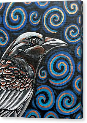 Canvas Print featuring the painting Raven by Sarah Crumpler