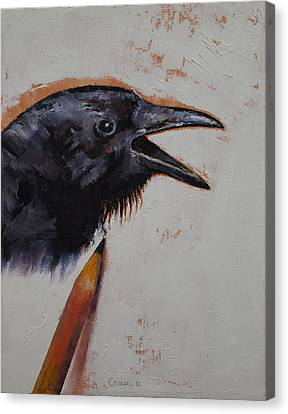 Raven Sketch Canvas Print by Michael Creese