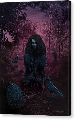 Raven Spirit Canvas Print by Cassiopeia Art
