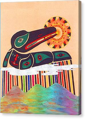 Raven Swallows The Sun Canvas Print