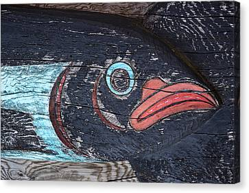 Raven Totem Figure Canvas Print by Carol Leigh
