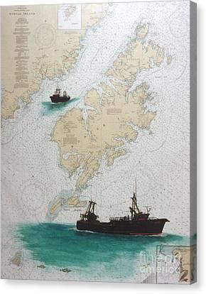 Raven Trawl Fish Boat Kodiak Nautical Chart Art Canvas Print by Cathy Peek