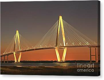 Ravenel Bridge At Dusk Canvas Print by Adam Jewell
