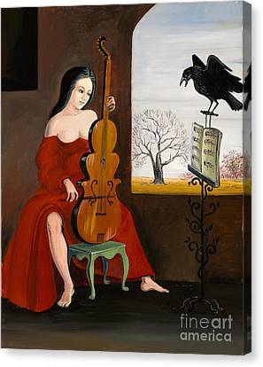 Raven's Melody Canvas Print by Margaryta Yermolayeva