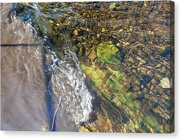 Raw Sewage Mixing With Clean Water Canvas Print by Ashley Cooper