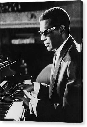 Man Ray Canvas Print - Ray Charles At The Piano by Underwood Archives