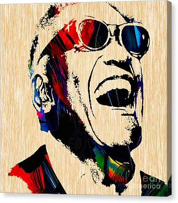 Piano Canvas Print - Ray Charles Collection by Marvin Blaine