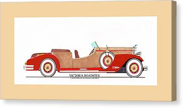 Ray Dietrich Packard Victoria Roadster Concept Design Canvas Print by Jack Pumphrey