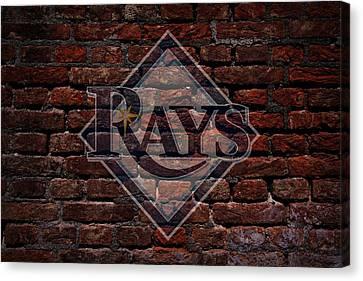Centerfield Canvas Print - Rays Baseball Graffiti On Brick  by Movie Poster Prints