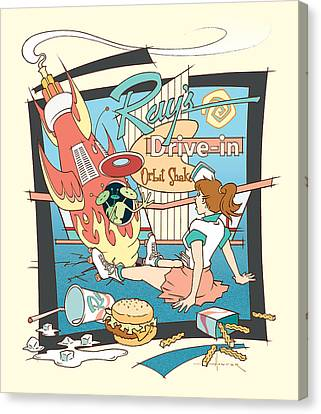 Ray's Drive-in - Brunette Canvas Print